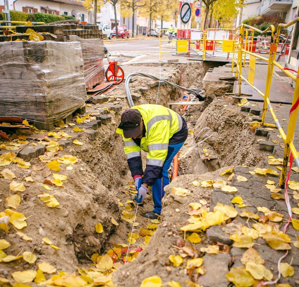 Electricité Sogeca tranchée chantier urbain Strasbourg